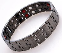 bio joyería magnética al por mayor-2015 joyería de moda titanio puro cuidado de la salud pulsera de terapia magnética chapado en negro pulsera de energía de la salud de los hombres 4 en 1 bio