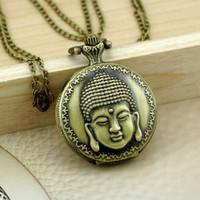 Wholesale Buddha Watch - Wholesale-New Arrive Antique Vintage 37X37MM Buddha Quartz Men Women Pocket Watch Pendant Necklace