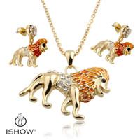 Wholesale Enamel Lion Earrings - Enamel Lion Necklace Earrings Jewelry Sets Pendants for Women Silver plated Enamel Jewelry Gift Drop Shipping