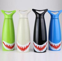 Wholesale Sport Bottles Cartoon - Shark Cartoon Water Bottle 400ML Cycling Camping Sports Water Drinking Bottles Stainless Steel Vacuum Insulation Mugs OOA2949