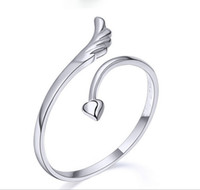 Wholesale Stainless Steel Winged Ring - Wholesale - Korean Jewelry Angel Wings Ring 925 Sterling Silver Ring Opening Can Be Adjusted Wedding Rings