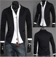 Wholesale Korean Jacket For Men Long - Wholesale British Blazer Mens Slim Blazers Designs Suits For Men One Button Stand-up Collar Korean Jackets For Men Knitted M-XXL 3 Colors