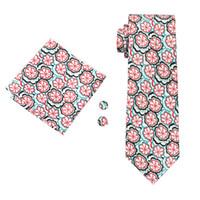 lazos blancos para la venta al por mayor-Venta caliente para hombre lazos impresos patrón de flor roja boda de negocios blanco corbata de seda conjunto incluye empate gemelos Hankerchief Freeshipping N-1247