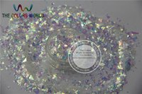 Wholesale Mylar For Nails - Wholesale- TCC21 Solvent resistant Iridescent white Colors Random Cut Glitter Spangles Mylar for nail Polish and Art decoration