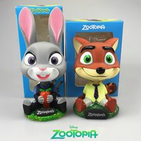 Wholesale Robot Ornaments - Zootopia Judy Nick Action Figure Toys Nodding Dolls Car-Styling Robot Head Shaking Toys Car Ornament Decoration Head Shaking Dolls Gifts 166