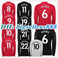 Wholesale man united top - TOP QUALITY 17 18 ALEXIS Long sleeves Ibrahimovic LUKAKU red Home 3RD Soccer Jersey United MARTIAL POGBA RASHFORD away football Shirt