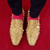 Dandelion Spikes Flats Men Luxurious Gold Silver Loafers Vestido preto Driving Shoes Long Rivets Studded Masculino Casual Creepers Velvet Shoes