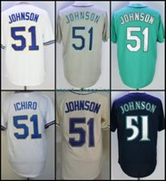 2018 Base Flexible # 51 Randy Johnson Camiseta de Béisbol Local Visitante Blanco Verde Jersey Gris Beige? Base Fresca Cosida