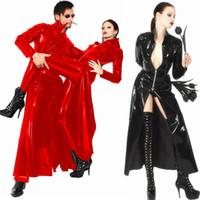 Wholesale Dress Black Matrix - Wholesale-Unisex Men Women Catsuit Sexy Leather Long Coat Black PVC Bodysuit Dress The Matrix Halloween Cosplay Gay Latex Costume M L XL