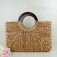 Wholesale Pure White Handbags - Brand New Fashion Women Half Round Straw Bags Pure Shoulder Bags Handbag Beach Bag zipper Tote bag