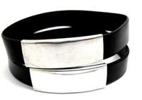 Wholesale Silicone Bracelet Plain - 12pcs Black Simple Plain stainless steel Silicone wristbands bracelets wholesale Men Women Fashion Jewelry Lots Brand new