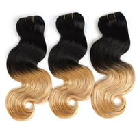 tremper colorant cheveux trame achat en gros de-Greatremy® Ombre Hair Weave Trame Ombre Dye Dye Deux Tons # T1B / # 27 Couleur Brésilienne Ombre Cheveux Humains 14