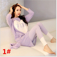 Wholesale Ladies Cotton Black Suits - 2016 New Autumn Women Pajamas Sets Women's Cartoon Long Sleeve Pajamas Lady Casual Sleepwear Ladies Sleeping Suits Home Wear Leisure Clothes