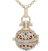 Wholesale Washable Leather Wholesale - Full Crystal Rhinestone Hollow Cage Locket Aromatherapy Essential Oil Diffuser Pendant Chain Necklace With 7 Colors Washable Balls