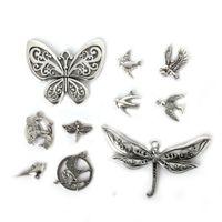 Wholesale 14k butterfly pendant - Free shipping New 58pcs Mixed Tibetan Silver Plated Butterfly Bird Pendants Jewelry Making Diy Charm Handmade Crafts jewelry making DIY