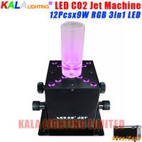 Wholesale Co2 Jet Column Machine - 4Pcs Lot Flycase Professiional DJ Disco Stage Show Effect Equipments Smoke 12X9W RGB Tri-color LED Connection Column CO2 DMX512 Jet Machine