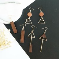 Wholesale Korean Wooden Clip - Japanese and Korean style ladies new simple fashion geometric wooden triangle asymmetrical earrings and ear clip