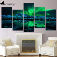 Wholesale Lake Picture Frame - HD Printed painting 5 piece canvas art green aurora borealis lake hill night living room decoration Free shipping ny-1713
