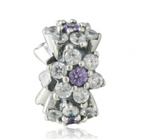 Wholesale sterling spacer beads - Forget Me Not Spacer Charms Beads 925 Sterling Silver Purple CZ Flower Stopper Bead For Jewelry Making DIY Charm Bracelets Accessories HB655