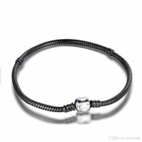 Wholesale Sterling Silver Beaded Bracelets - New86 New! Promotion Black With 925 Sterling Silver Clasp Bracelet For European Charms Beads 17-23CM Length DIY Jewelry