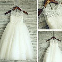 Wholesale Sweetheart Rhinestone Feather - 2016 HOT Lace Tull Flower Girl Dress Wedding Children Easter Bridesmaid Communion
