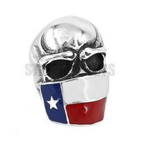 amerikanischer flaggenring großhandel-Freies verschiffen! TEXAS Flagge Ungläubigen Schädel Ring Edelstahl Schmuck Vintage Amerikanische Flagge Schädel Motor Biker Männer Ring SWR0526A