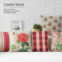 Wholesale Wedding Decorative Sofas - 45cm Simple Style Red Stripe Rose Wedding Gift Cotton Linen Fabric Waist Pillow 18inch Hot Sale New Home Decorative Sofa Car Back Cushion