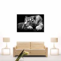pintura al óleo blanco rojo negro al por mayor-1-Imagen Combinación Negro Blanco Arte de la Pared Pintura Tigre Ojos Rojos Impresiones Sobre Lienzo Óleo Para El Hogar Decoración Moderna
