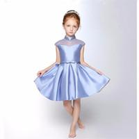 vestido de vestido de los mejores niños al por mayor-20162017New Hot High Quality Cheap Best Sale Cute Kids Princess con Bow Party Wedding FlowerGirl vestido de bola Vestidos del desfile