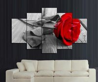 Wholesale red floral wall art - High quality artworks of love flower Wall Painting red rose Home Decoration Flowers Art Picture Paint on Canvas Prints