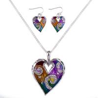 colar multicolorido venda por atacado-MS1504511 Moda Conjuntos de Jóias Conjuntos de Colar de Alta Qualidade Para As Mulheres Jóias Multicolorido Cristal Único Projeto Do Coração Do Amor