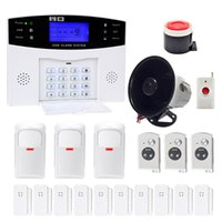 Wholesale Gsm Home Security Set - Minritech Home Security GSM Alarm System Wireless Wired SMS Burglar Voice Alarm System Remote Control Set Arm Disarm KIT HOT