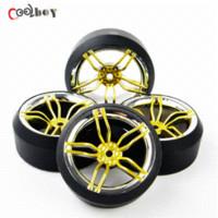 Wholesale Hsp Rc Tires - 4PCS RC Drift Tires & Wheel Rim 12mm Hex Fit HSP HPI 1:10 On-Road Car 2FCG+PP0370