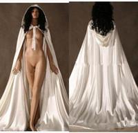 vestidos de dama de invierno chaquetas al por mayor-Por encargo de la chaqueta con capucha Escudo Nueva barato Cabo nupcial elástico blanco Navidad de la boda Capas novia de la boda nupcial Wraps