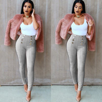 Wholesale Army Pants Girls - Women's Pants Multi-color Buttoned Deerskin Pants Legs Casual 2017 Hot Sales Fashion Girls Trousers Large Size