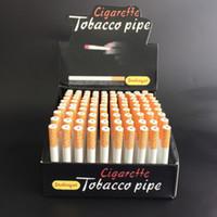 Wholesale Real Bats - Real Cigarette Shape Pipe One Hitter Bat 100pcs box Aluminum Smoking Pipes for Smoking Wholesale Price Free Shipping free shipping
