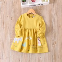 Wholesale Korean Baby Clothing Wholesale - Everweekend Girls Cartoon Applique Ruffles Dress Sweet Baby Candy Color Clothes Princess Korean Fashion Autumn Clothing