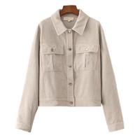 frauen beige jacken großhandel-Mode Beige Cord Loose Bomber Jacke Frauen Taschen Button Umlegekragen Oberbekleidung Damen Frühling Party Frau Mäntel