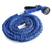 Wholesale expandable green hose online - 100FT Plastic Green Blue Water Spray Nozzle Sprayers Triple Expandable Flexible Water hose Garden Pipe Set Car washing Plant watering Hoses