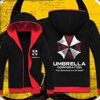 Wholesale Biohazard Costume - Wholesale-Resident Evil hoodie Cosplay Costume Hooded Jacket Coat Fashion Umbrella Corporation Unisex Hoodies Sweatshirt Biohazard