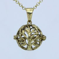 """Wholesale Cage Bronze - Wholesale Antique Bronze Tree of Life Hollow Cage Locket Necklace For Aromatherapy Essential Oil Diffuser Pendant 30"""" Chain Charms Jewelry"""