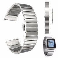 Wholesale pebble steel band - 22mm mm Brand New For Pebble Time Steel Strap Stainless Steel Wrist Watch Bands Watchband Wriststrap Bracelet Butterfly Clasp