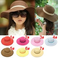 Wholesale Simple Straw Hats - Wholesale- 2015 Retail 7 colors summer Children solid Simple elegant large brimmed straw hat baby girls Beach Hats sun hat