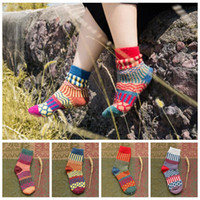 Wholesale girls thick warm socks - Women Rabbit Wool Cashmere Warm Thick Casual Winter Wave Striped Socks Soft Knitting Warm Wool Crew Socks OOA3444