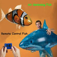 Wholesale Toy Swimming Sharks - IR RC Air Swimmer Shark Clownfish Flying Air Swimmers Inflatable Assembly Swimming Clown Fish Remote Control Blimp Balloon Air Swimmer Toy