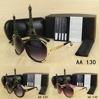 Wholesale big frame vintage eyeglasses - Cool brand Big size men woman Sunglasses with origianal box case eyeglasses gold Metal Round classical Vintage Glasses for Friends as Gifts