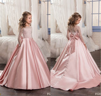 Wholesale purple evening dresses yellow bow online - Stunning Pink Flower Girl Dresses Satin kids evening gowns with long sleeves Beads Ball gown Girls Pageant Dresses