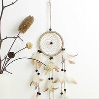 Wholesale Eco Fiber - Antique Imitation Enchanted American Pastoral Indians Mysterious Dreamcatcher Gift Handmade Net Feathers Wall Hanging Decoration Ornament