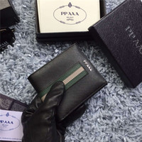 Wholesale Mini Lock Box - High Quality Real Leather Men's Wallet Fashion Luxury Brand Designer Mini Wallet Multi-Card Pocket Pocket Wallet With Box