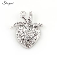 Wholesale Strawberry Necklace Charms - Fruit Strawberry Floating Locket Charms for DIY Bracelet Locket Necklaces Crystal Charms Pendant Silver Gold Plated 20pcs